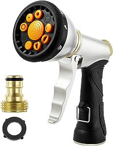 OPOM Garden Hose Sprayer,Heavy Duty Metal Hose Sprayer Nozzle, 9 Multifunctional Adjustable Patterns Hose Nozzle, Watering Plants, Pet, Car Washing, Patio and More