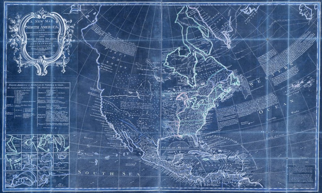 Vintography 18 x 24 Blueprint Style Reproduced Old Map 1750A New map North America The British, French, Spanish, Dutch & Danish dominions on That Great Continent The West India Islands Saye