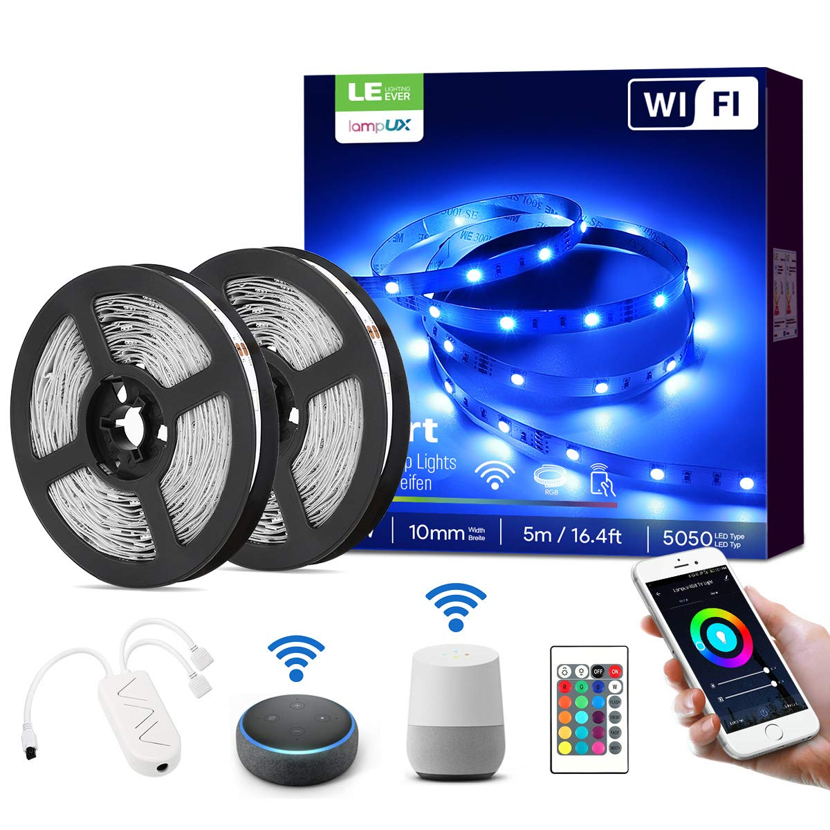 LE LampUX WiFi Smart LED Strip Lights with Remote, Alexa Google Home Compatible, 32.8ft RGB Color Changing, SMD 5050 LED Rope Light, Under Cabinet Strip Lighting, 12V Tape Light for Kitchen, Bedroom
