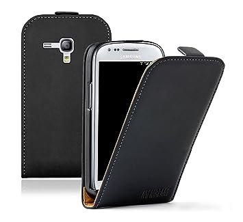 Membrane - Ultra Slim Negro Funda Carcasa Compatible para Samsung Galaxy S3 Mini (GT-i8190) - Flip Case Cover + 2 Protectores de Pantalla