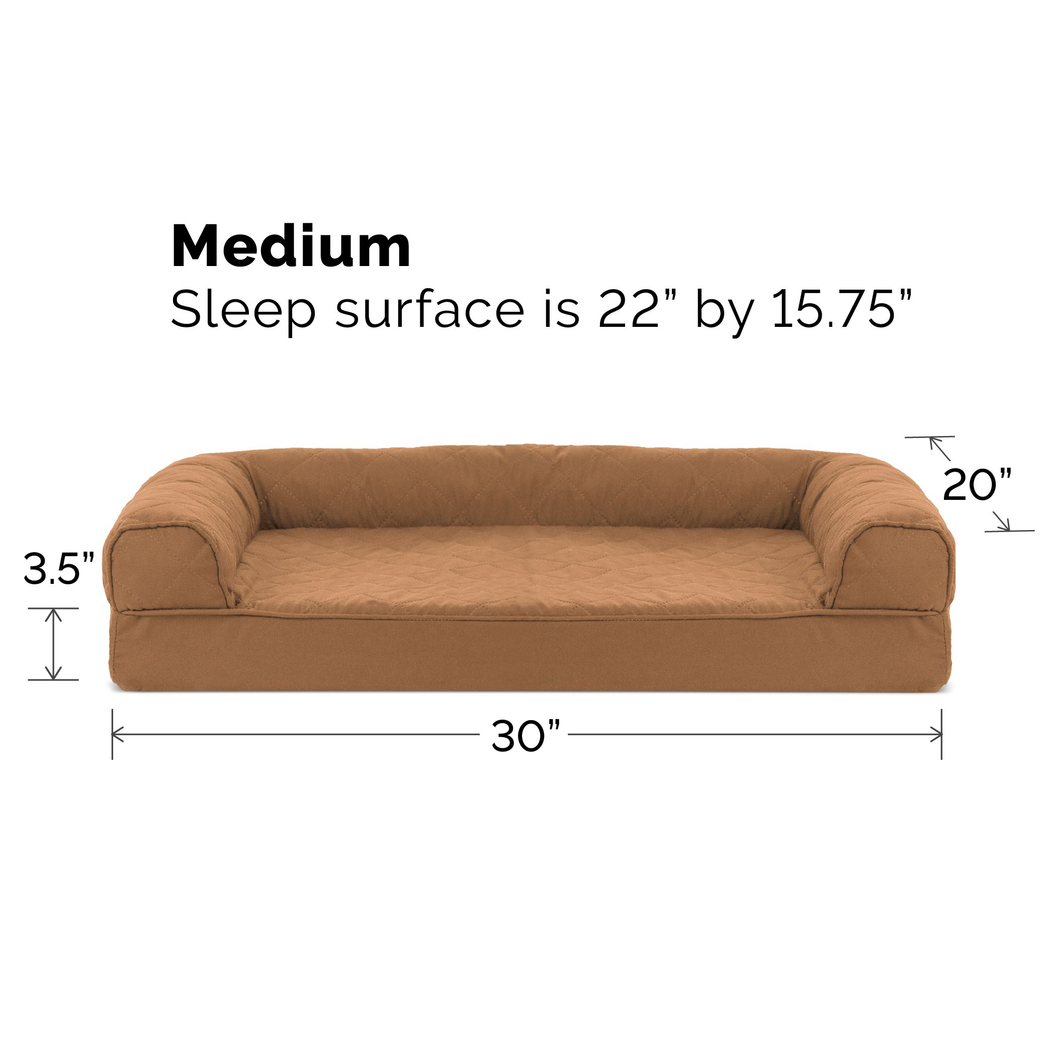 furhaven medium quilted orthopedic sofa pet bed for dogs and cats warm brown 689789213902 ebay. Black Bedroom Furniture Sets. Home Design Ideas