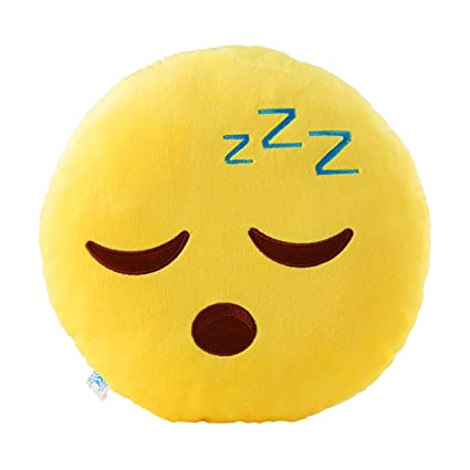 Sleeping Zzz Emoji Pillow 12 5 Inch Large Yellow Smiley Emoticon