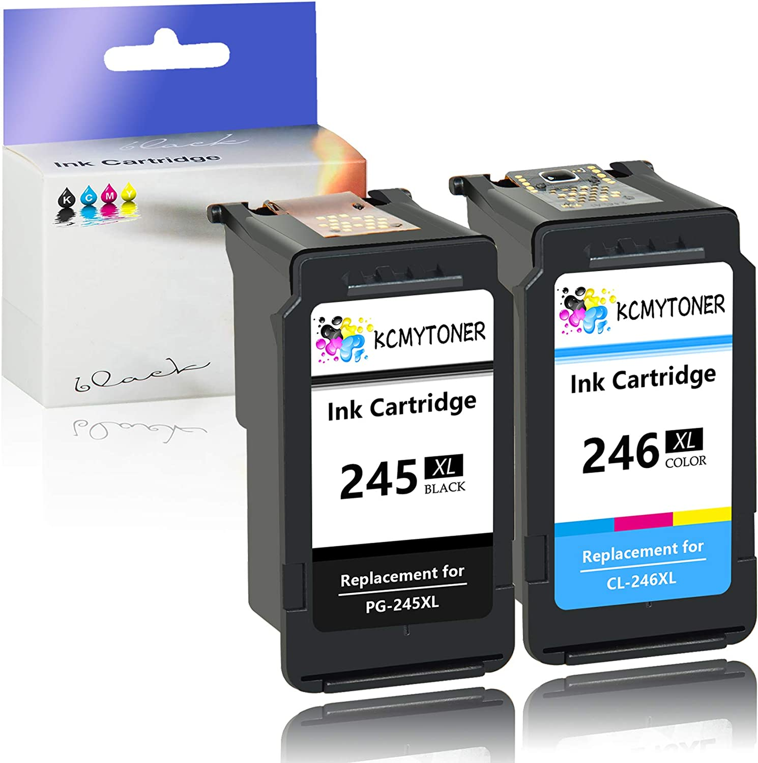 KCMYTONER 10 Pack Remanufactured for PG-245XL PG245XL Black Ink Cartridge Shows Ink Level Used with PIXMA MX492 MG3020 MG2920 MG2924 iP2820 MG2525 MG2420 Printers