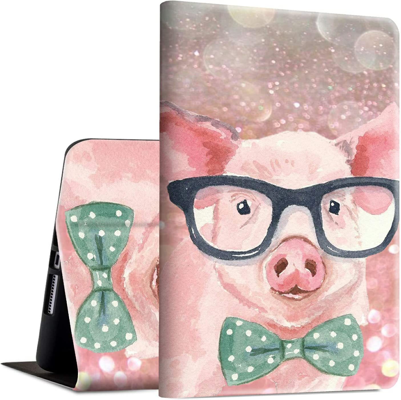 iPad Pro 11 Case/2nd Gen Cover 2020, Rossy PU Leather Folio Smart Cover TPU Shock Case with Adjustable Stand & Auto Wake/Sleep Feature for Apple iPad Pro 11 2020 Release - Pink Pig with Glasses
