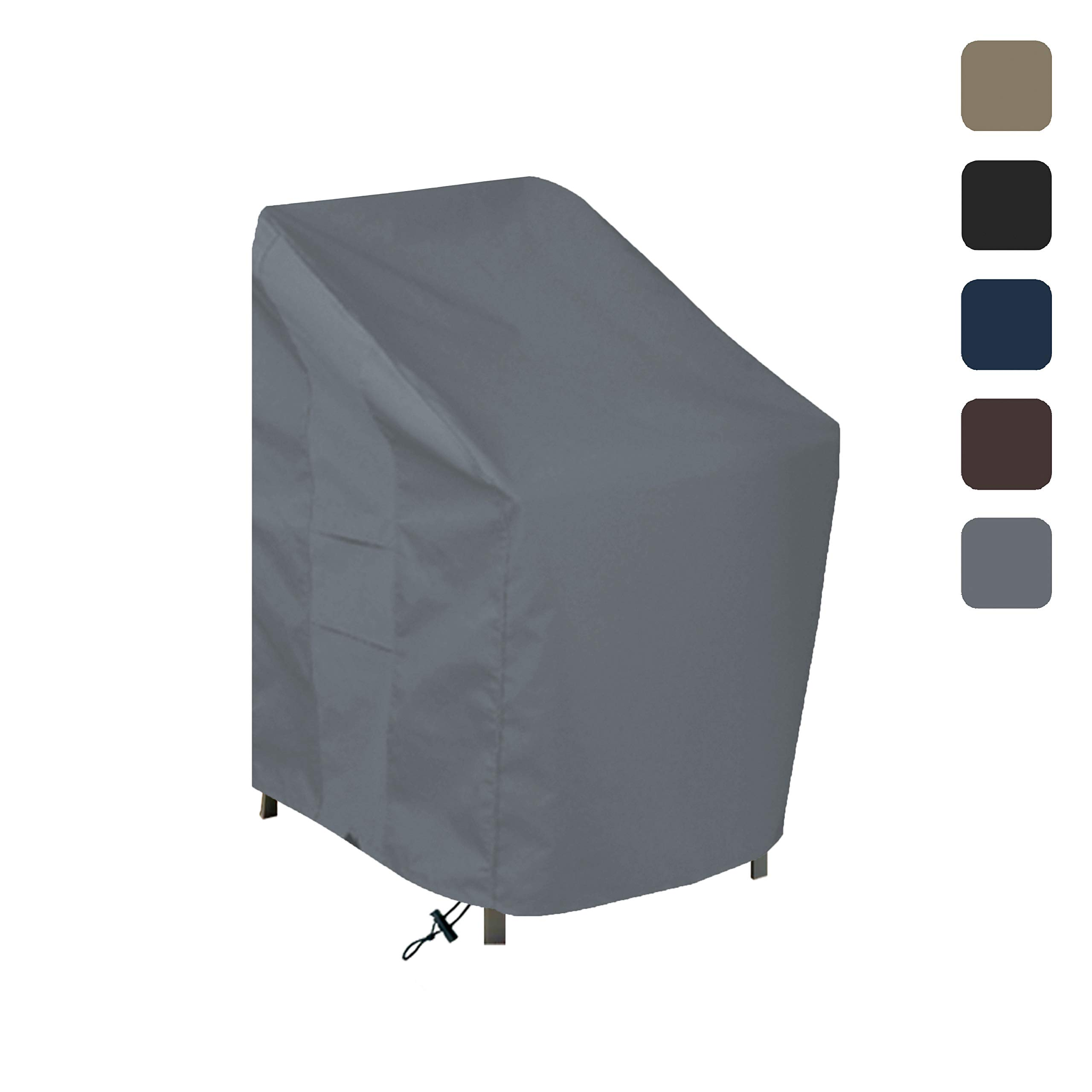 Outdoor Chair Cover 12 Oz Waterproof - 100% UV & Weather Resistant - Customize Cover - Stackable/Patio Chair Covers with Air Pockets and Drawstring for Sung fit (28W x 30D x 49H, Grey)