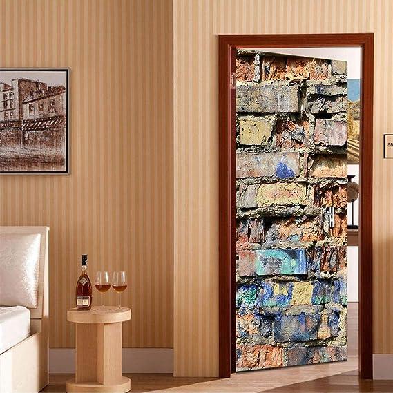 LYFCV HD Imprimir Cartel de la Pared de Ladrillo PVC Impermeable Toda Etiqueta de La Puerta Pegatinas Creativas Puerta Etiqueta de la Pared DIY Mural Dormitorio Decoración para el hogar 77X200 cm: