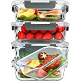 [5 paquetes, 36 onzas] recipientes de vidrio para preparación de comidas con tapas de cierre de presión de por vida, contened