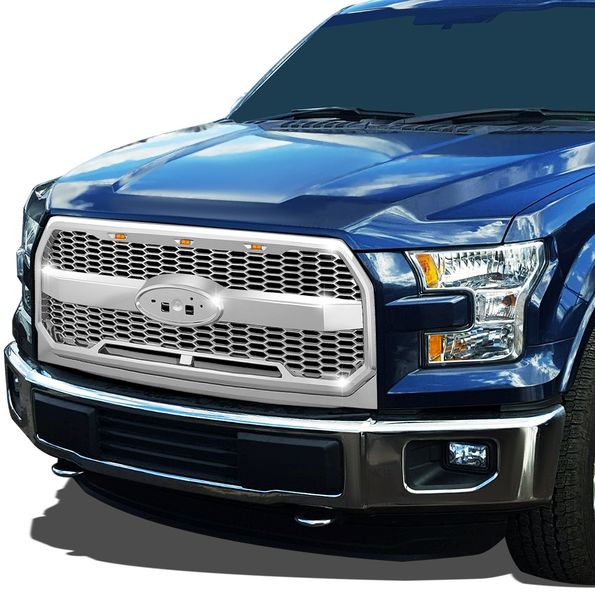 For Ford F150 Chrome Honeycomb Style Mesh Front Bumper Grille w//Shell LED Lights