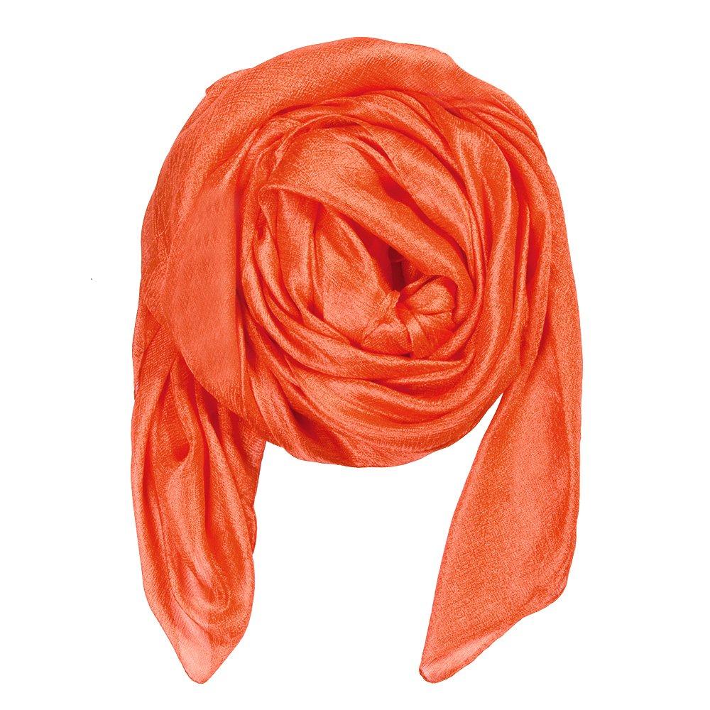QBSM Womens Orange Large Solid Soft Bridal Evening Wedding Scarf Shawl Wrap Cover Up