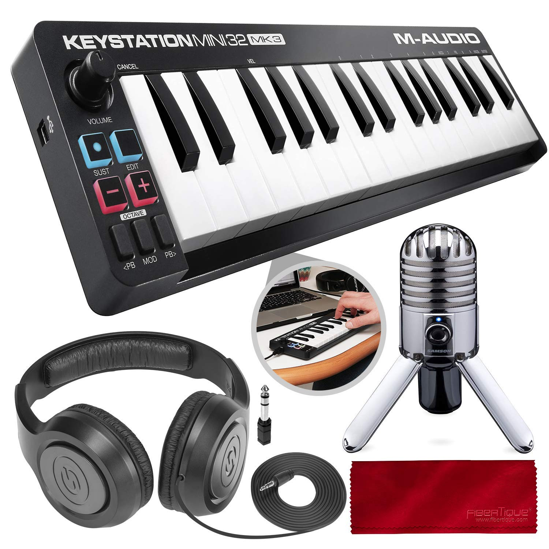 M-Audio Keystation Mini 32 MK3 Portable Mini-USB MIDI Controller with USB Studio Condenser Microphone Deluxe Bundle by M-Audio