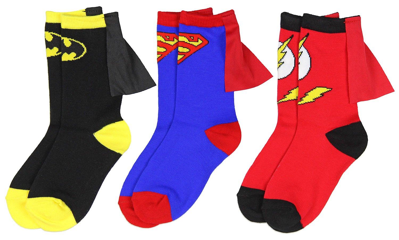 DC Comics Superhero Batman Superman The Flash Youth Boys Caped Crew Socks (3 pack crew socks, 7-9)