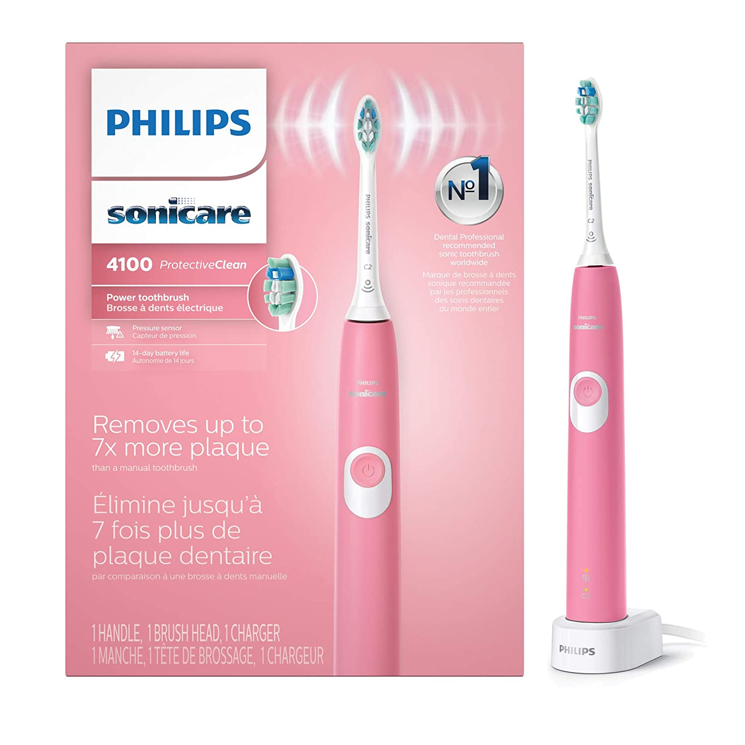 Philips Sonicare ProtectiveClean 4100 Rechargeable Electric Toothbrush, Deep Pink HX6815/01