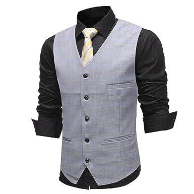 8d9a93bf5 Gilet Homme de Costume Slim fit Casual Mariage: Amazon.fr: Vêtements ...