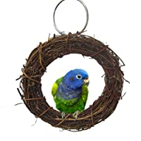 Natural Rattan Hoop Chew Toy for Bird Parrot African Grey Budgie Cockatoo Parakeet Cockatiels Conure Lovebird Cage Perch