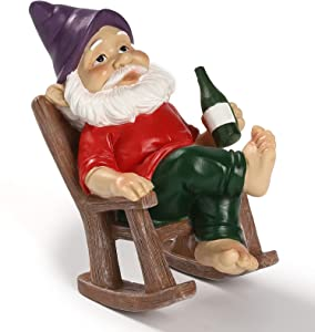 Hausure Drinking Garden Gnome Sitting on Rocking Chair Funny Garden Gnome Statue for Lawn Ornaments Patio Yard