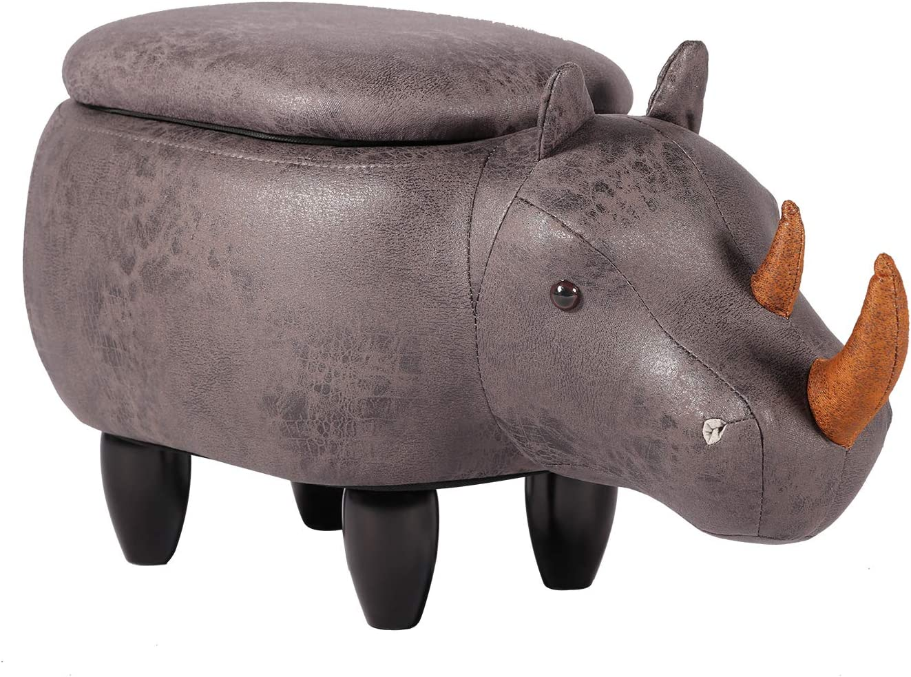 VECELO Decorative Storage Ottman Footrest Foot Stool for Bedroom, Playroom & Living Room (StyleA), Dark Grey