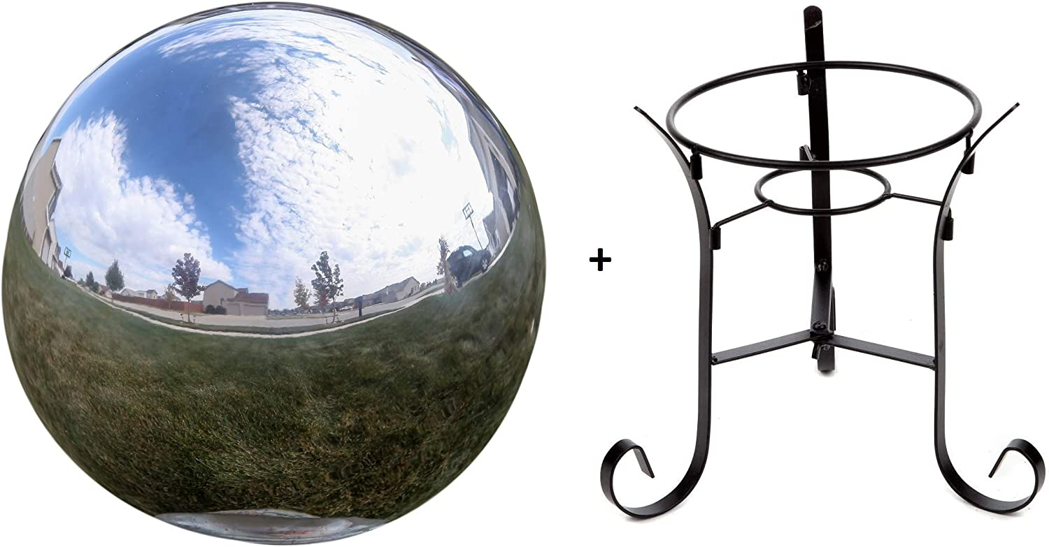 Lily's Home 10 inch Gazing Globe Mirror Ball in Silver Stainless Steel with a 9 inch Metal Stand
