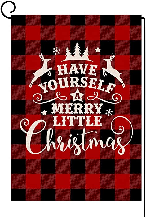 BLKWHT Buffalo Plaids Christmas Garden Flag 12.5 x 18 Vertical Double Sided Winter Merry Little Red Black Christmas Outdoor Decorations Burlap Small Yard Flag S1028
