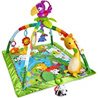 Fisher-Price DFP08 Rainforest Erlebnisdecke, Krabbeldecke mit Musik und Lichtern weichem Spielbogen Babyerstausstattung, ab 0 Monaten