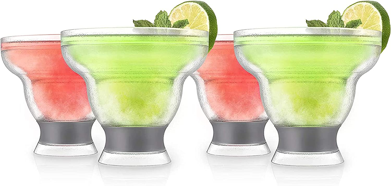 Host Margarita FREEZE Cooling Cups (set of 4) Liquor Chilling Drinkware, Grey