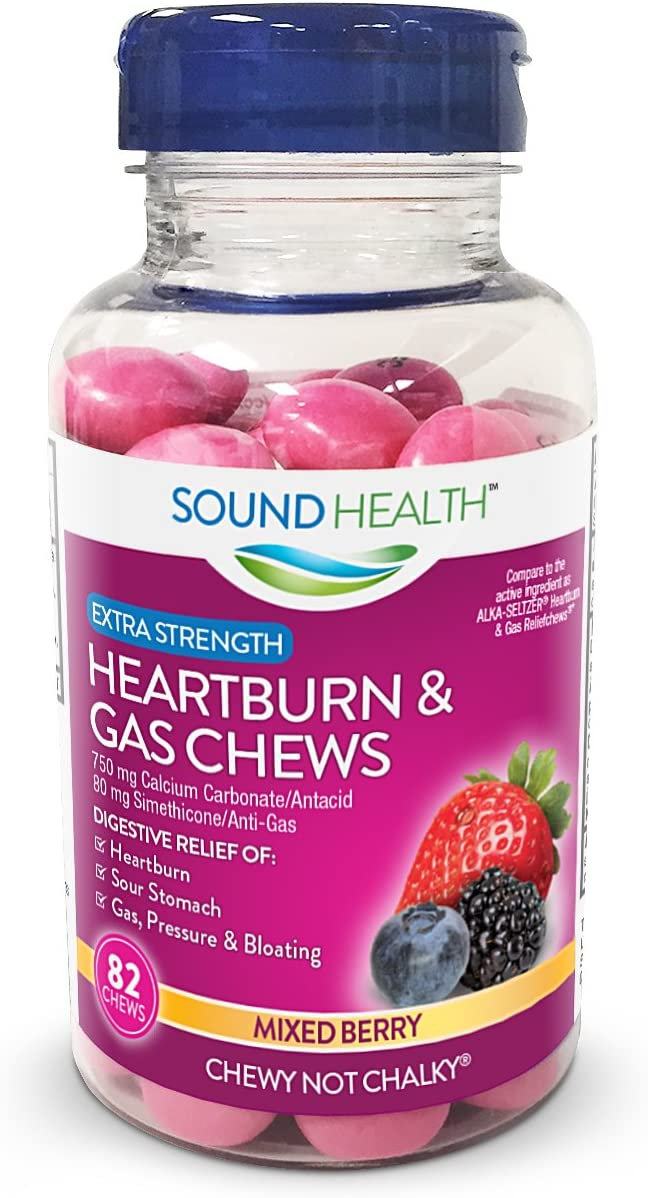 SoundHealth Extra Strength Heartburn & Gas Relief Chews, Mixed Berry Flavor, 82 Count