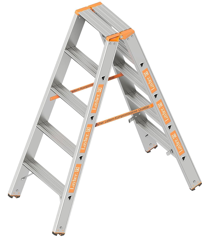 Layher 1043005 Stufenstehleiter Topic 5 Aluminiumleiter 2x5 Stufen 80 mm breit beidseitig begehbar L/änge 1.25 m klappbar