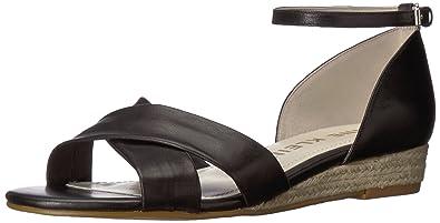 d639165a3efa5 Anne Klein Women's NANETTA Espadrille Wedge Sandal Black Leather 5 ...