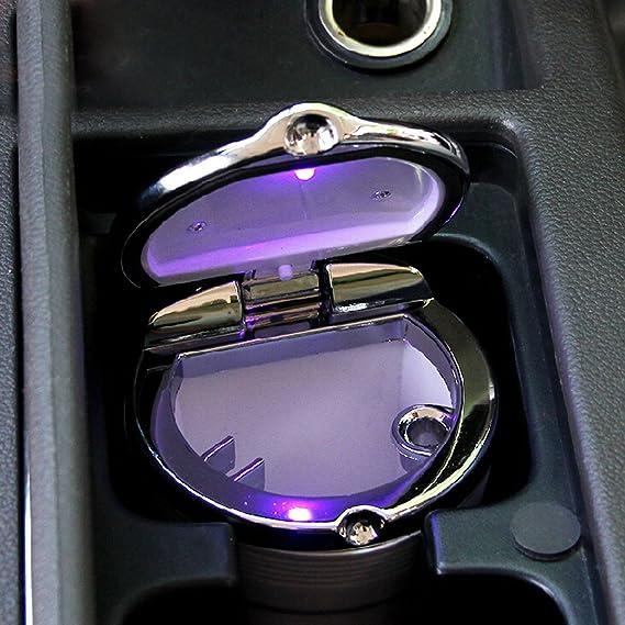 YSM auto sigaretta posacenere portatile dellacciaio Auto Vehicle Ash con Blue LED senza fumo del basamento del supporto del cilindro Cup nero