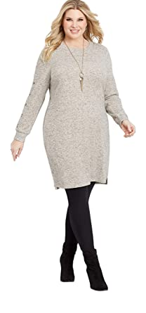 f2093dbc3d8 maurices Women s Plus Size Button Sleeve Sweater Dress at Amazon Women s  Clothing store