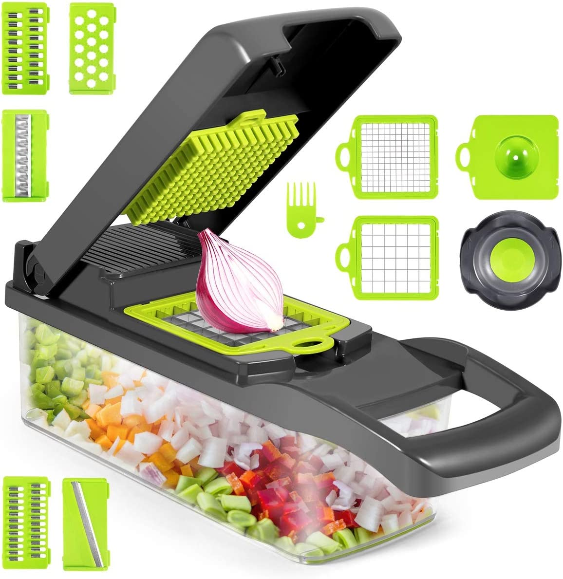 Vegetable Chopper, 12 in 1 Multifunctional Slicer with Container, Adjustable Mandolin Slicer, Household Kitchen Cutter for Veggie, Fruit Salad, Onion, Potato
