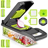 Vegetable Chopper, 12 in 1 Multifunctional Slicer with Container, Adjustable Mandolin Slicer, Household Kitchen Cutter…