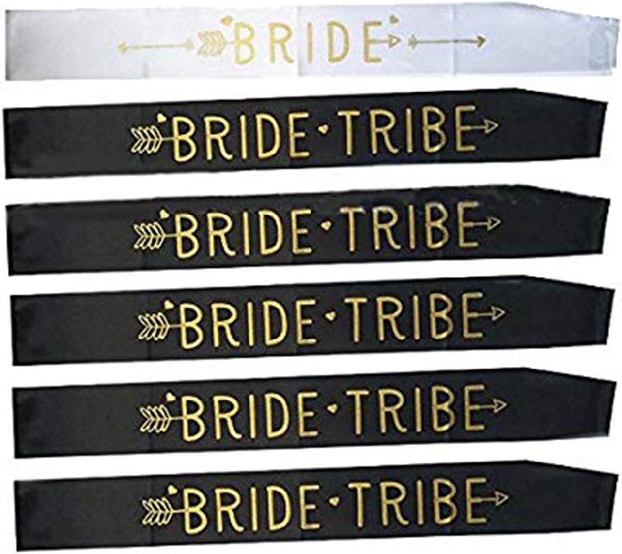 iwobi 6 Piezas Bandas Despedida Soltera, 5 Fajas Negras de la Novia del Equipo con 1 Novia Blanca para ser el Marco de la Faja para la Boda y la Despedida de Soltera Decoraciones