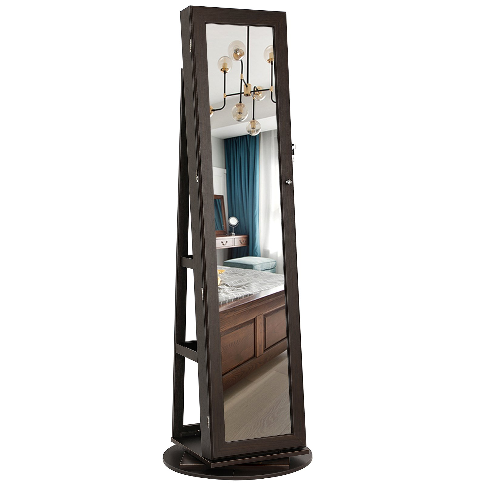 SONGMICS 360° Rotatable Jewelry Organizer Cabinet Armoire, Lockable, Higher Mirror, Brown UJJC62BR by SONGMICS