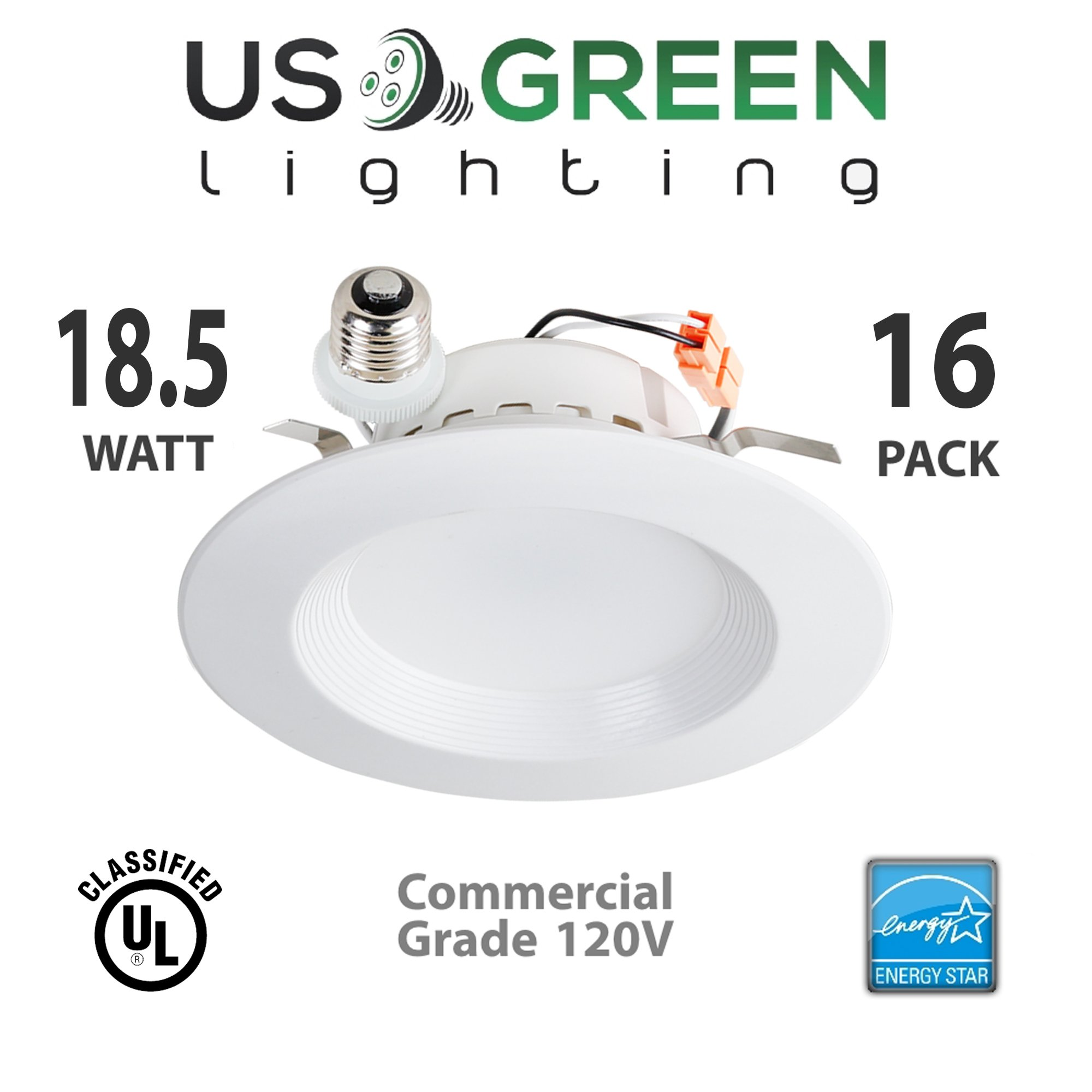 16 Pack 18.5W LED 3000K (Warm White) 5''/6'' Recessed Can Retrofit Downlight, Dimmable, 1100 Lumen, Energy Star, 90 CRI, 125W replacement, Low Profile