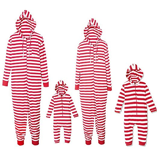 Christmas Family Matching Pajamas Strip Print Adult Child Jumpsuit  Sleepwear PJs Set for Family (Kids 01023d6c1