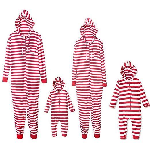 Christmas Family Matching Pajamas Strip Print Adult Child Jumpsuit  Sleepwear PJs Set for Family (Kids 01023d6c1