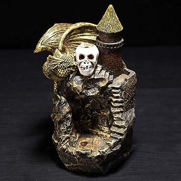 Beautiful Gothic Fantasy Skull Mountain Backflow Tower Incense Burner /& Cones
