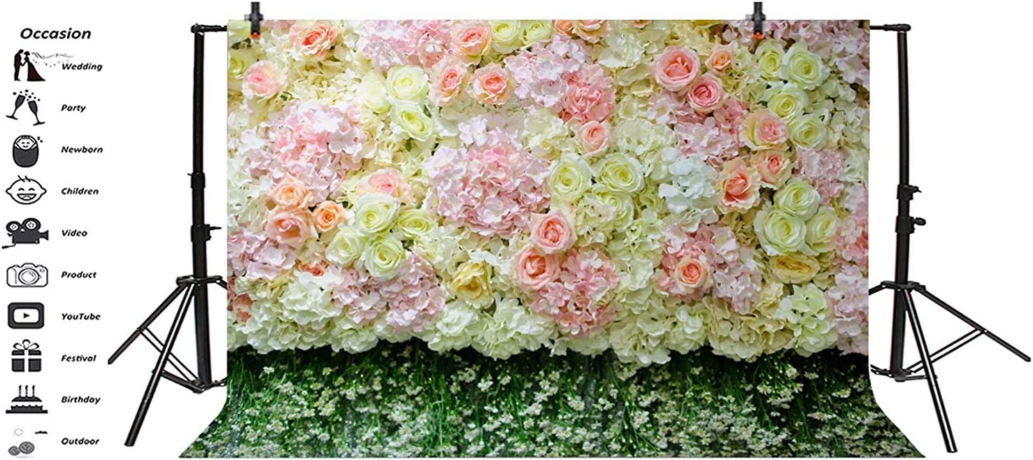 Graceful Flower Wall Backdrop 8x6.5ft Polyester Elegant Yellow Orange Flowers Tracery Wall Background Wedding Ceremony Photo Booth Floral Wedding Stage Bridal Shower Party Banner Studio Props