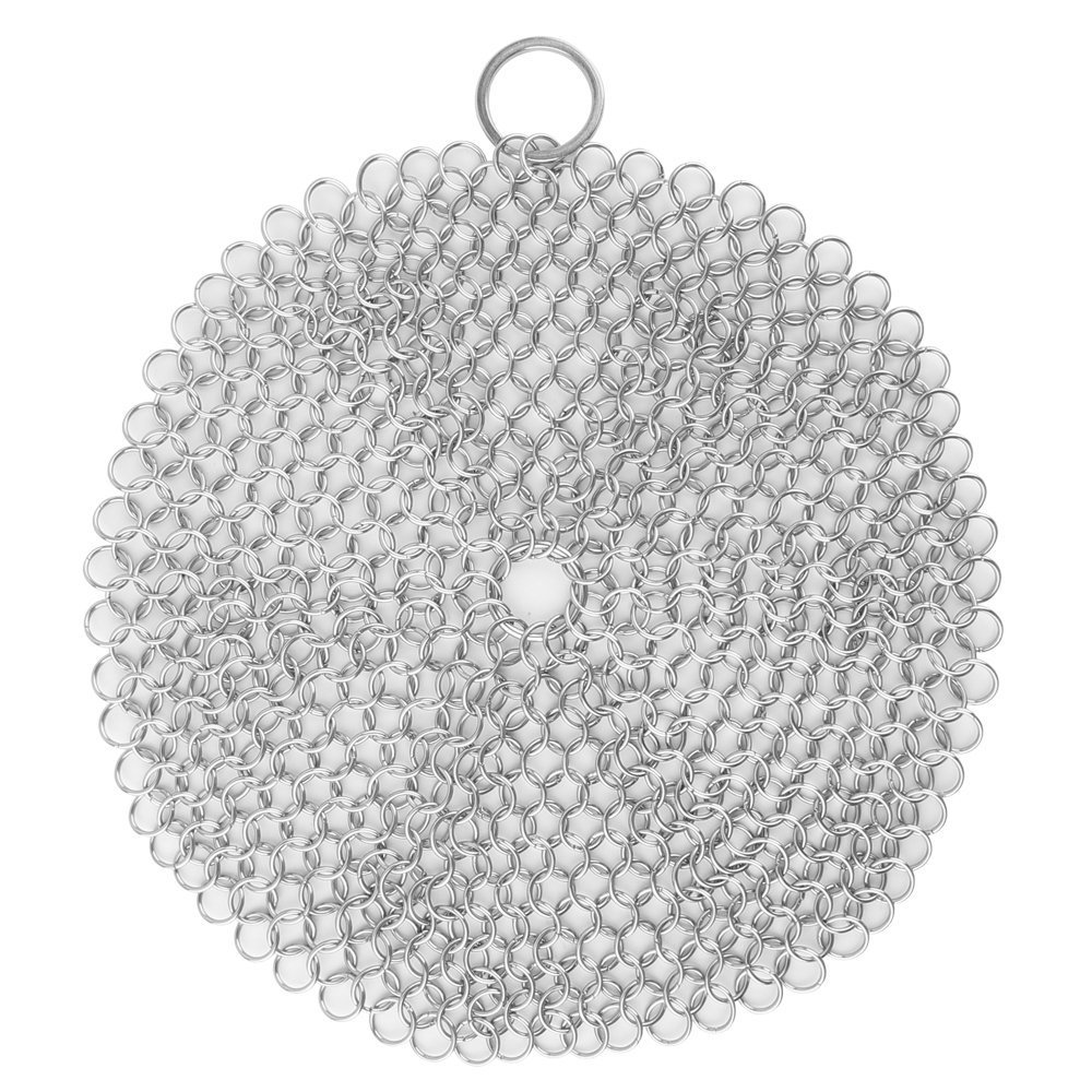 Efaithtek Cast Iron Cleaner -Premium 316L Stainless Steel Chainmail Scrubber , 8-inch Diameter Large Y-SW002