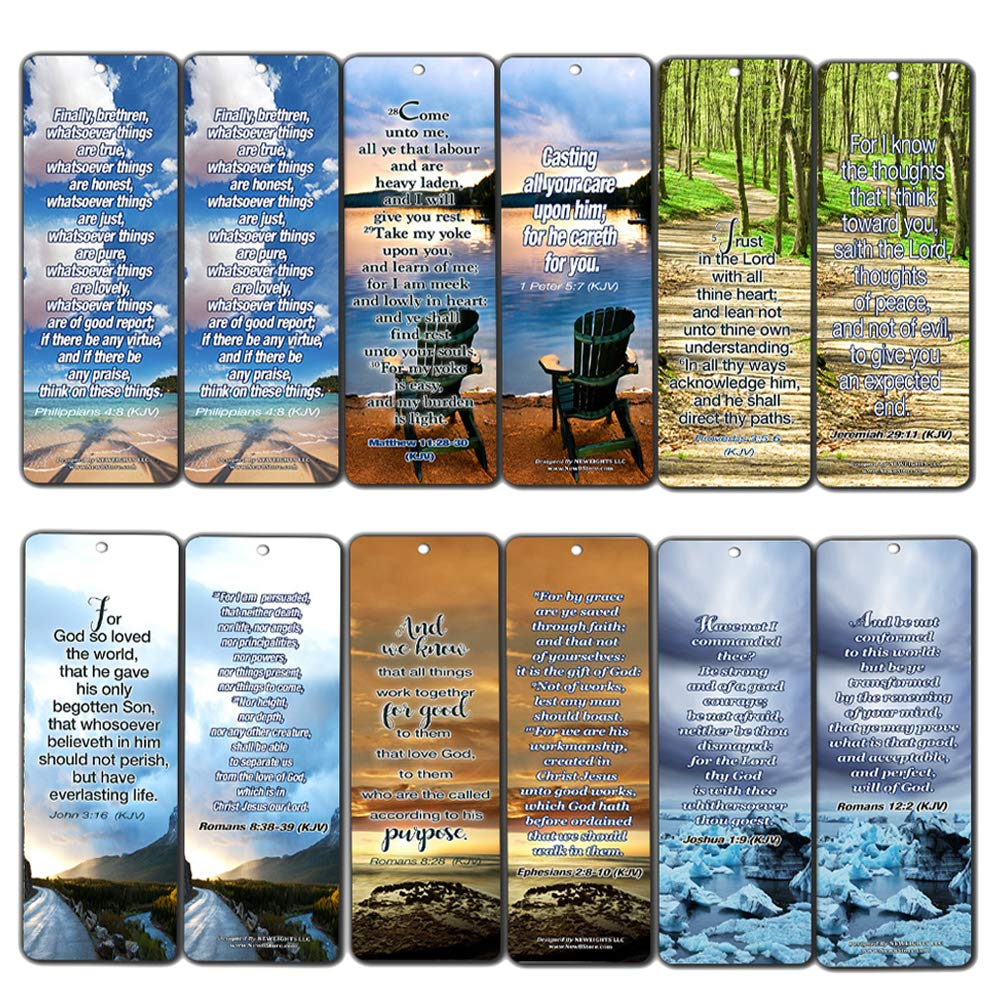39bf59b3a167f Most Highlighted Bible Verses Bookmarks Cards Bulk Set - KJV Version  (12-Pack)- Religious Christian Inspirational Gifts to Encourage Men Women  Boys Girls ...