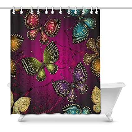 Amazon Com Interestprint Colorful Butterfly Bathroom Decor