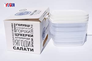 Bento Lunch Box - Set of 3 Boxes -27oz.-Made in Europe-Meal Prep Containers-BPA Free-Food Control Container-Microwave Dishwasher & Freezer(-20°C) Safe–Leak proof Containers – White Lids.