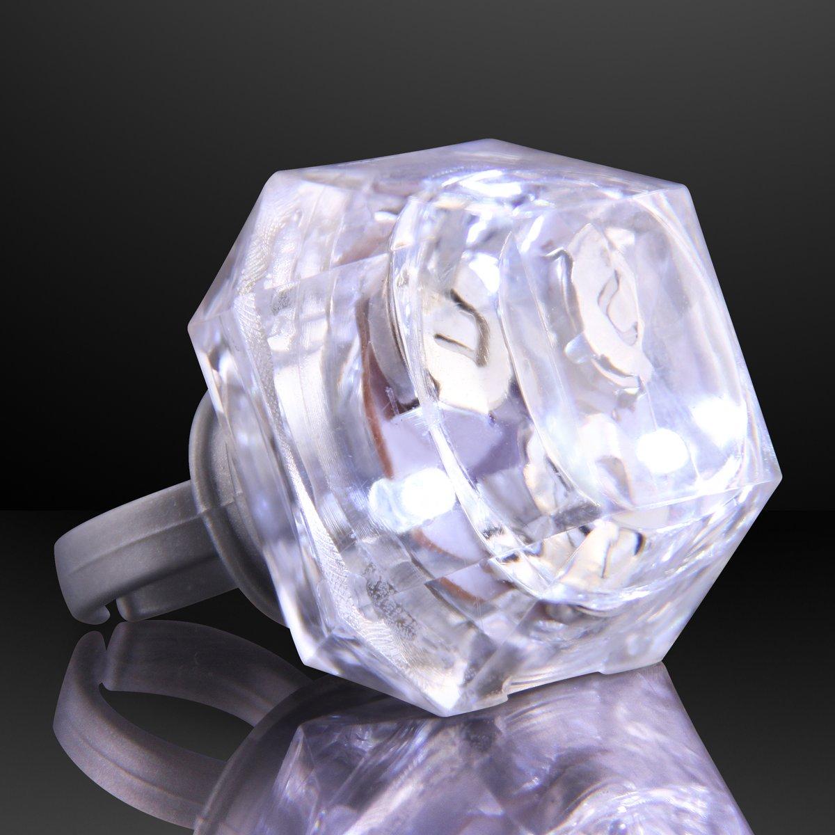 FlashingBlinkyLights Plastic Princess-Cut Huge Diamond Light Up Rings (Set of 24)