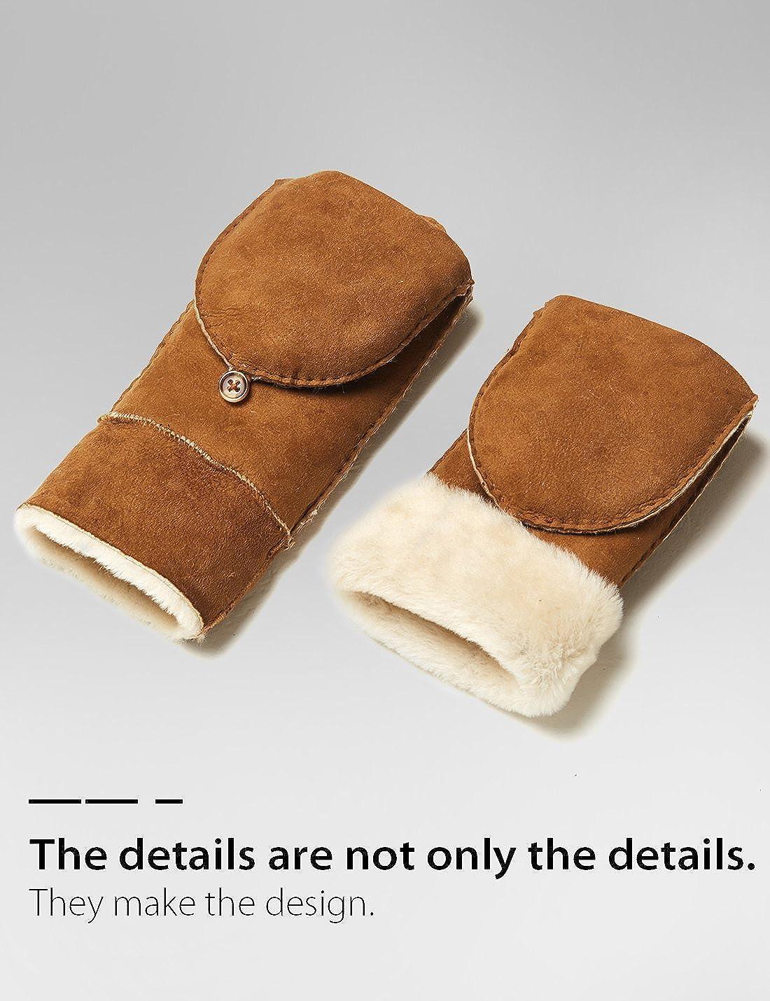 b79145757 Mittens YISEVEN Womens Merino Sheepskin Leather Gloves Flip Fingerless  Mitten Half Finger Sherpa Fur Cuff Thick Wool Lined and Heated ...