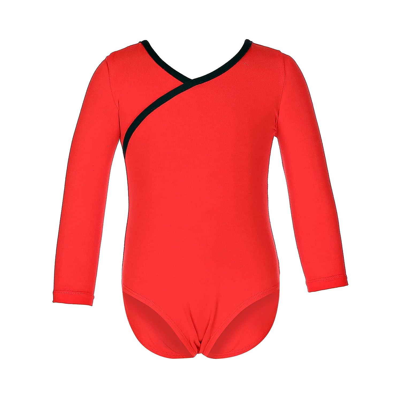 Sred 24(S) MAGIC PRINCESS Girls Classic Long Sleeve Cotton Sweat Absorbent Leotard for Dance Gymnastics Ballet