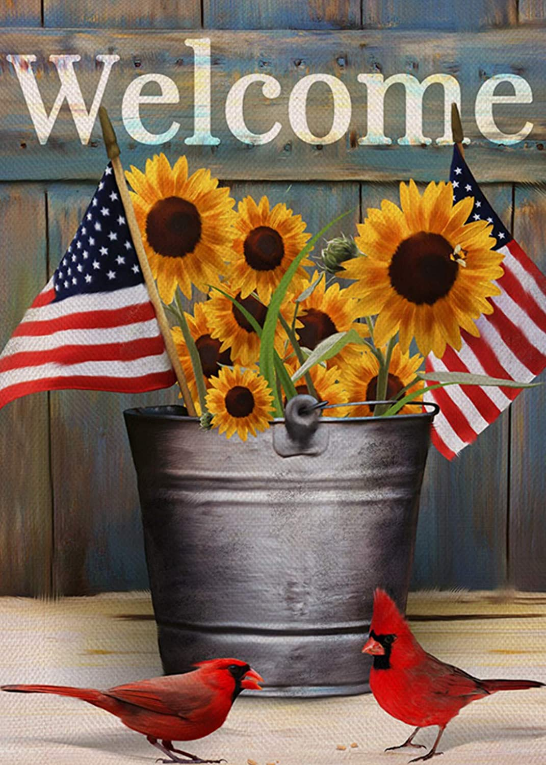 Furiaz Welcome Fall Sunflower Garden Flag, Patriotic American Home Decorative House Yard Small Flag Cardinal Birds Decor Double Sided, Autumn Outdoor Decoration USA Veterans Day Outside Flag 12x18