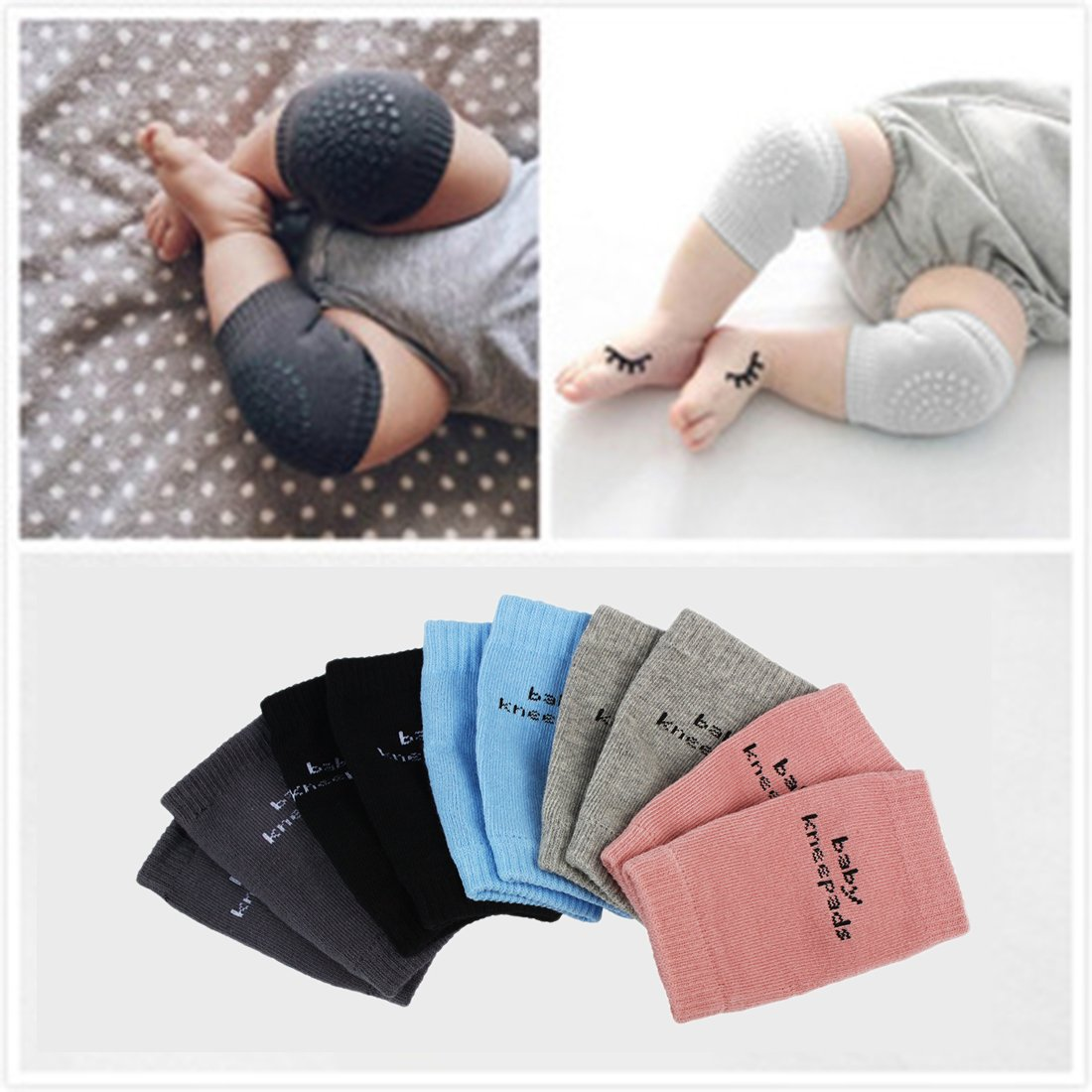 Andux 5 Pairs Baby Crawling Anti-Slip Knee for Unisex Baby Multiple colors XBW-01