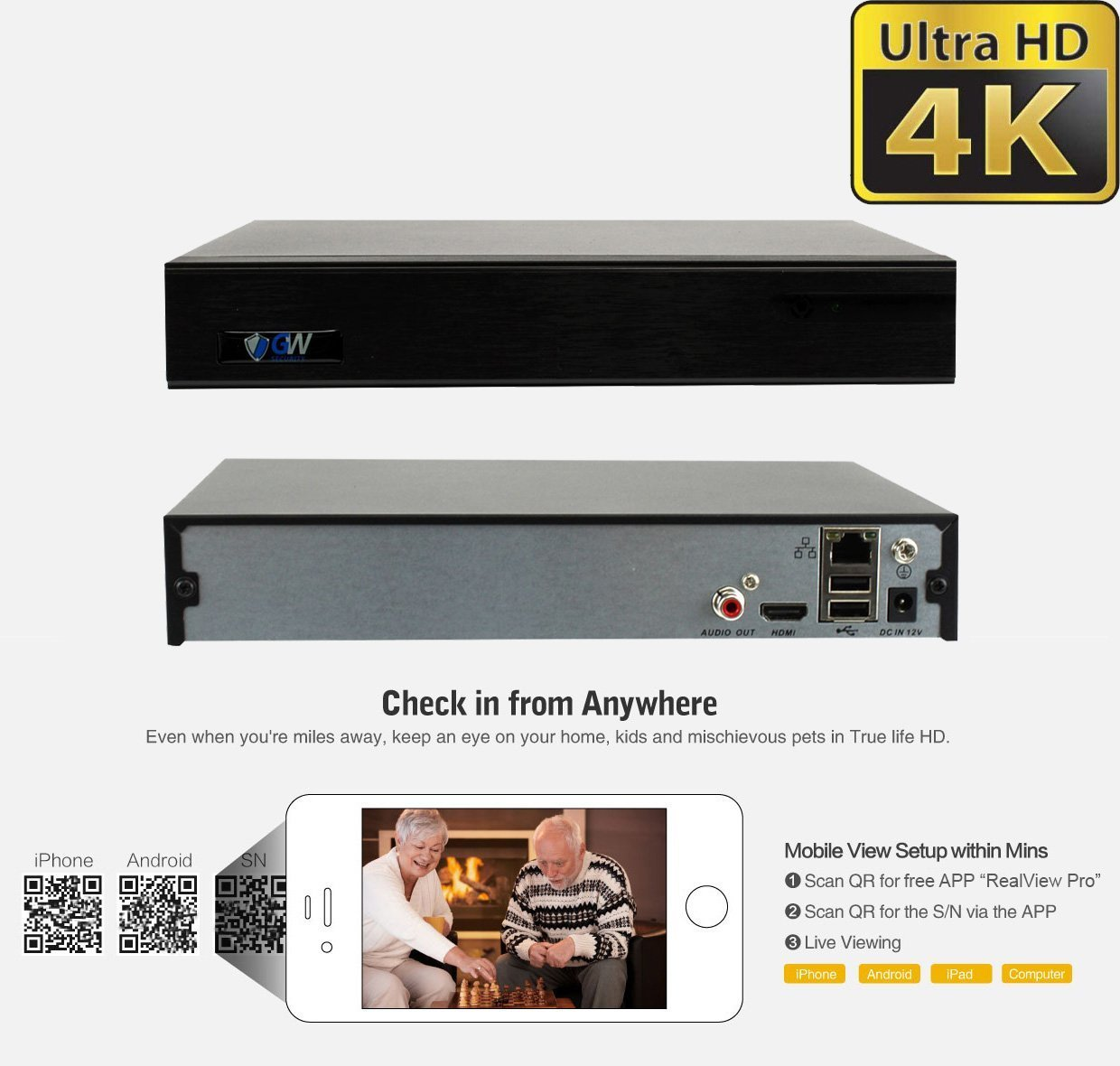 H.265 Network Video Recorder Onvif Compliant 9CH 1080p//4MP//5MP//6MP//8MP GW 9-Channel 4K NVR Supports Recording 8CH Up to 8-Megapixel 4K POE IP Cameras Pre-Installed 2TB Hard Drive GW Security Inc