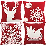 Sykting Embroidery Throw Pillow Case 18x18 Christmas Pillow Cover set of 4 Pillow Cases Home Car Decorative