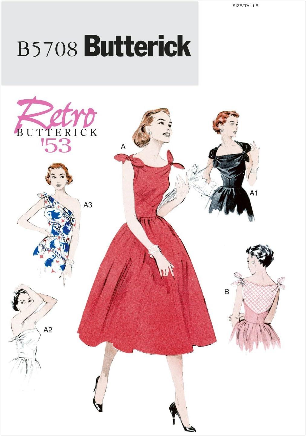 Patrones para Vestido de Mujer tama/ño A5, Tallas 34-36-38-40-42 The MCCALL Pattern Company B5748 Butterick Color Blanco